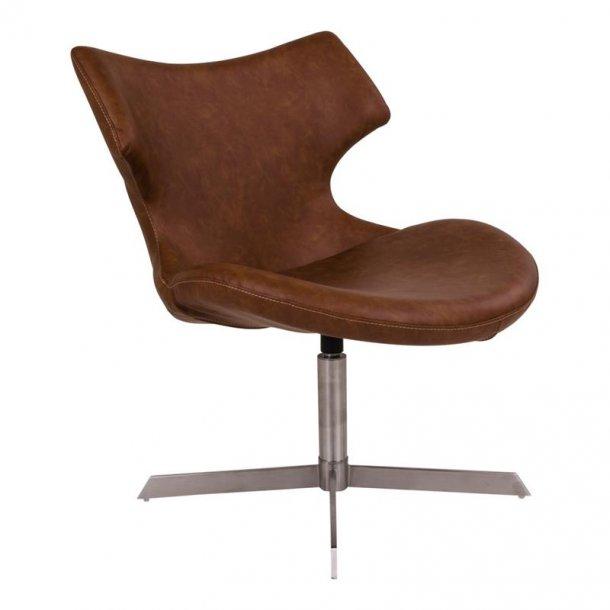 Zero lænestol i brun PU kunstlæder og børstet stål.