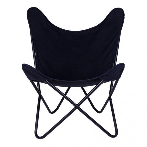 Carpe lænestol i canvas sort og ben sort.