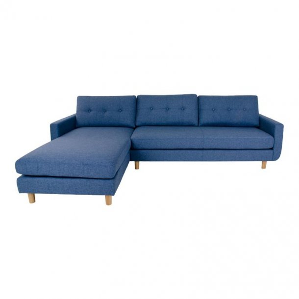 Arte sofa, chaiselongsofa venstrevendt i stof blå og med træben.
