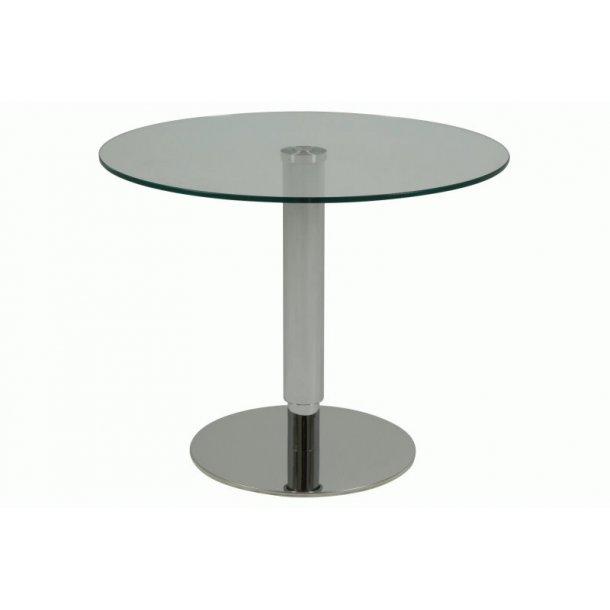 Sonny sofabord i klar glass og stål med heve, senke funksjon.