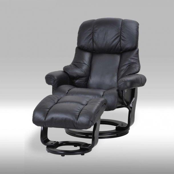 Camo recliner lænestol i sort ægte læder inkl. fodskammel.
