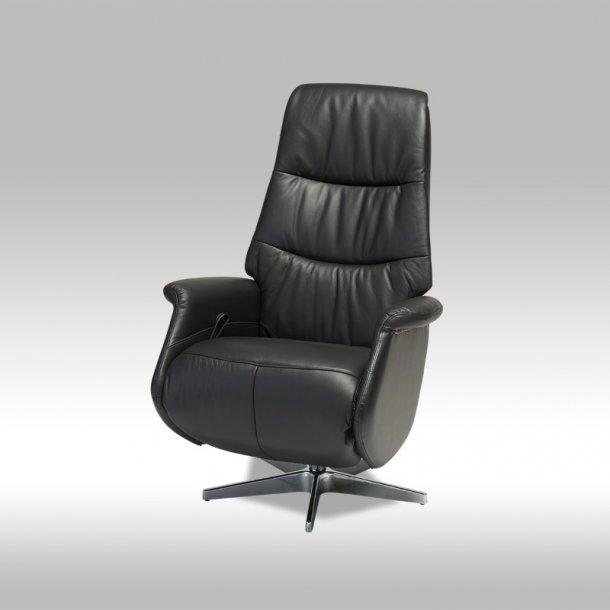 Daisy recliner lænestol med justerbar ryg i sort ægte læder med fodstøtte.