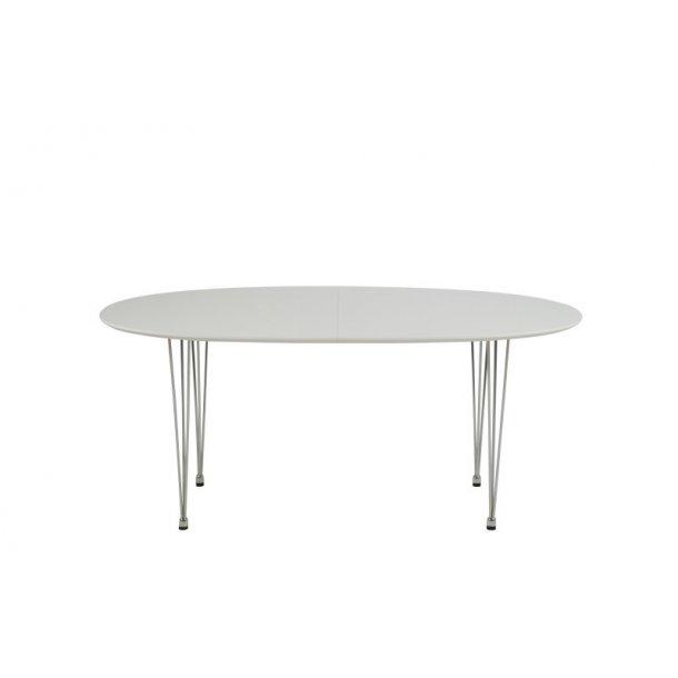 Carlo spisebord 100 x 170 til 270 cm i hvit høytrykkslaminat m. 2 uttrekksplater