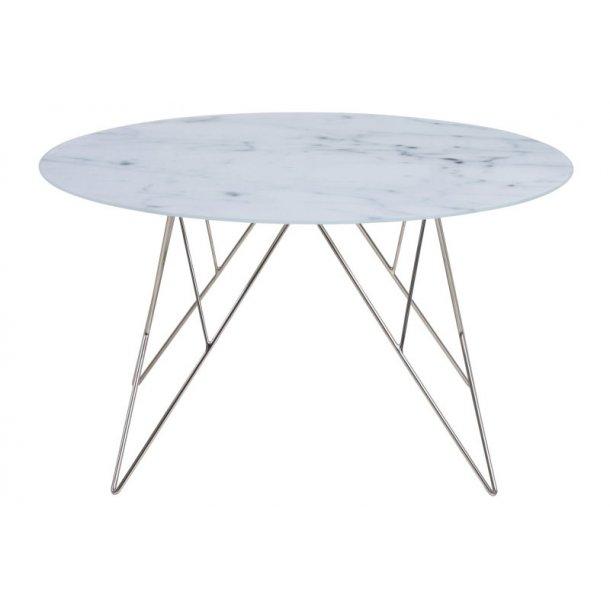 Plymoth sofabord i glas med marmorprint og stel i chrome.