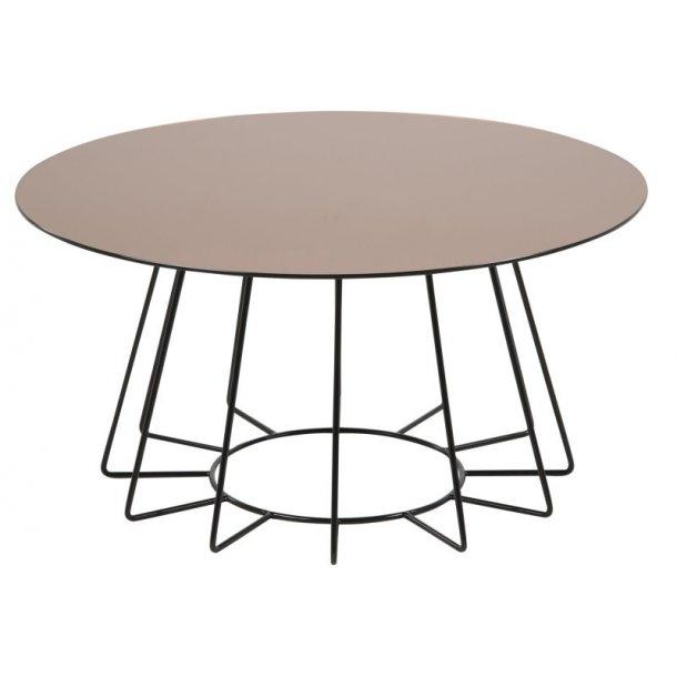 Caja sofabord Ø 80 cm rundt med bronzefarvet glas bordplade og sort stel.
