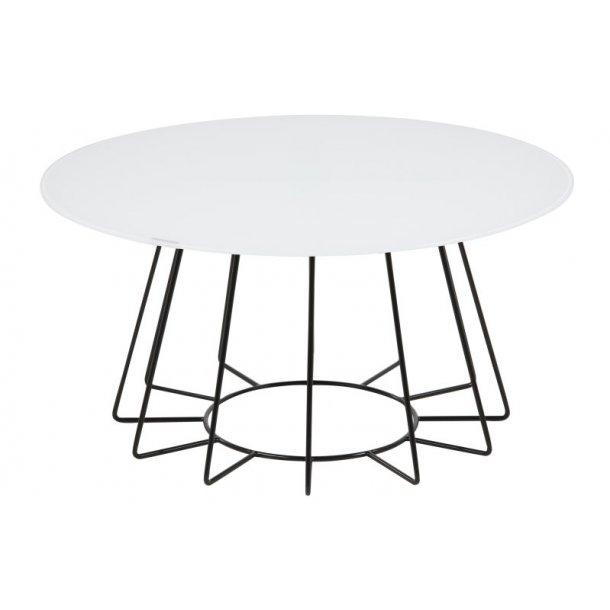 Caja sofabord rundt med hvid glas bordplade og sort stel.