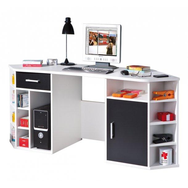 Favre skrivebord 1 låge, 1 skuffe, 13 åbne rum hvid, sort.