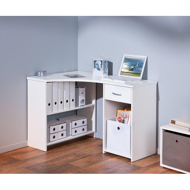 Grobe skrivebord 1 skuffe, 3 åbne rum hvid.