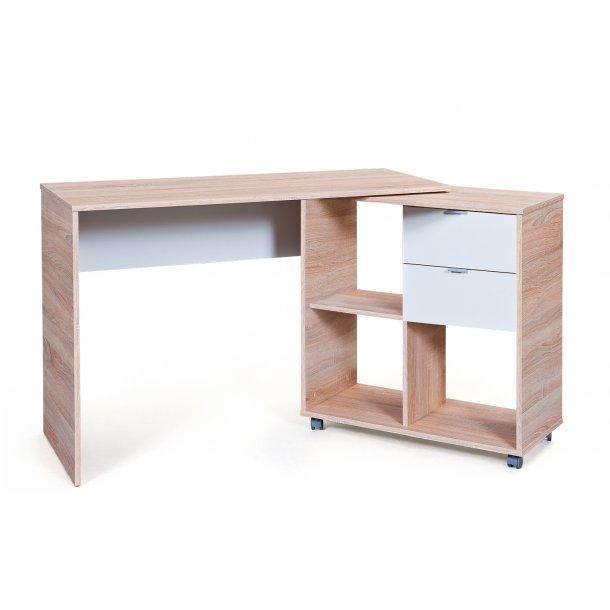 Fiba skrivebord 2 skuffer, 3 åbne rum Sonoma eg dekor, hvid.