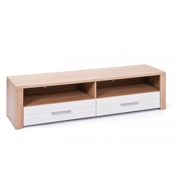 Abcent TV møbel 2 skuffer, 2 rum Sonoma eg dekor, hvid højglans.