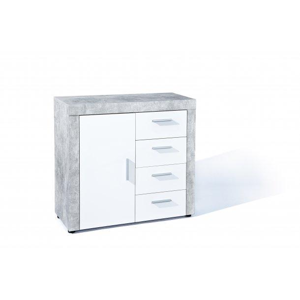 Beat kommode 1 låge, 4 skuffer beton dekor, hvid højglans.