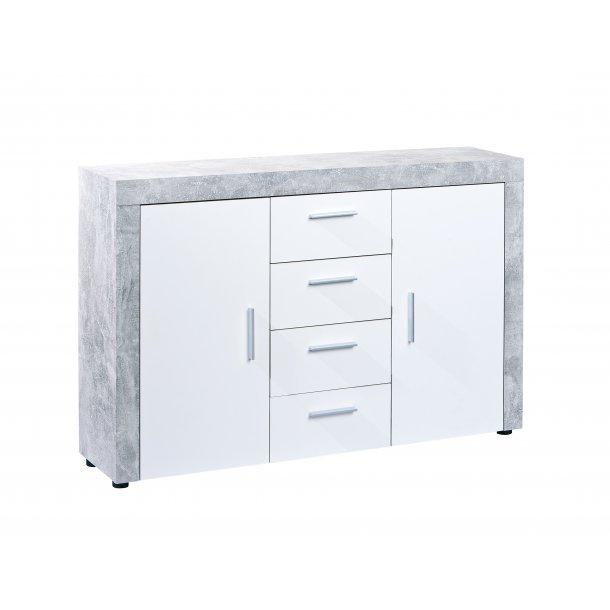 Cool Beat kommode 2 låger, 4 skuffer beton dekor, hvid højglans. Fri VH56