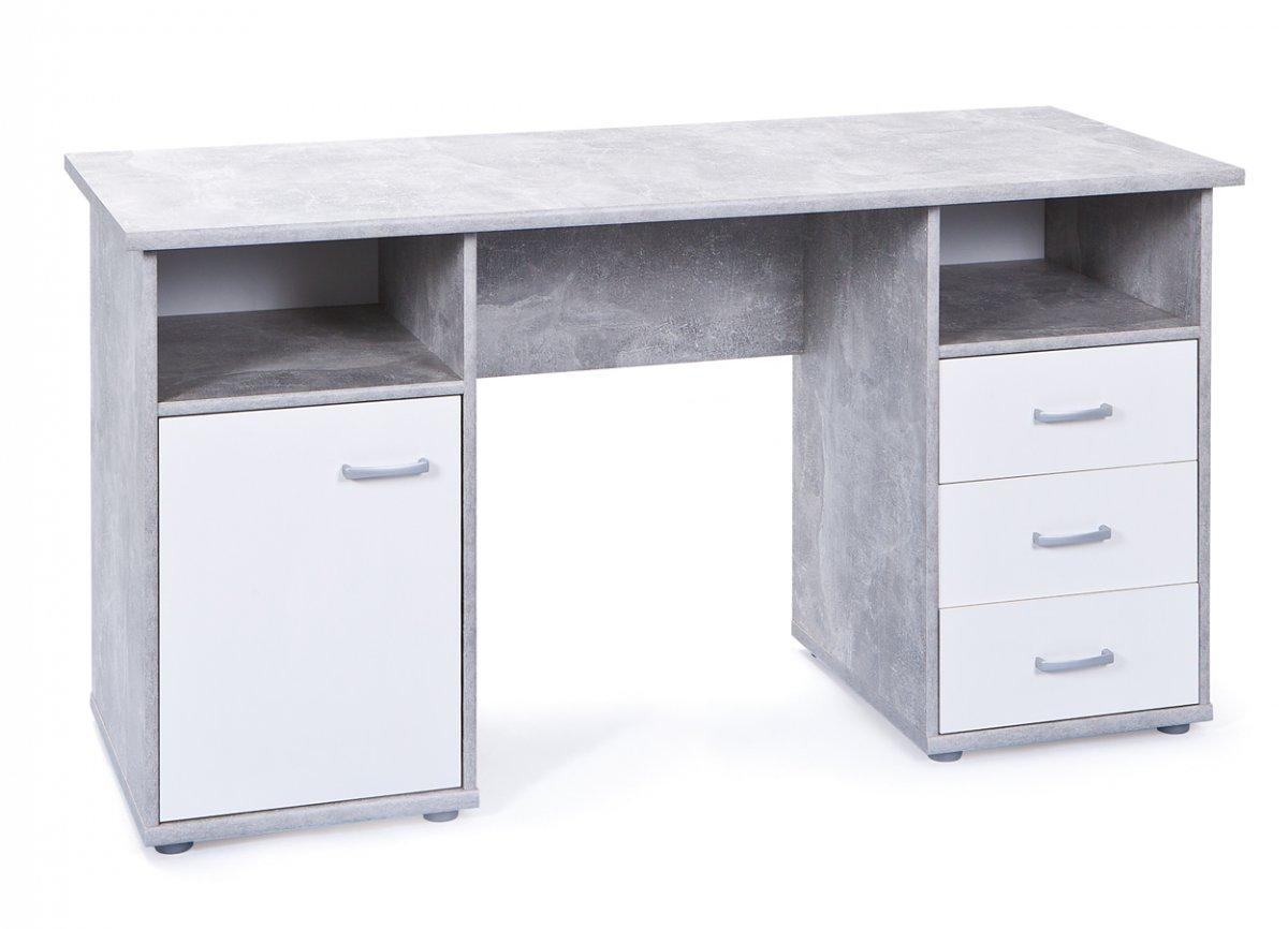 Floza skrivbord 1 dörr, 3 lådor, 2 fack betong look, vit