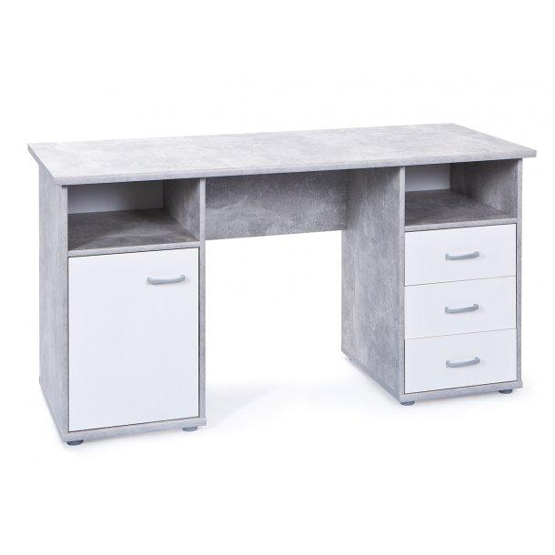 Floza skrivebord 1 låge, 3 skuffer, 2 rum beton dekor, hvid.