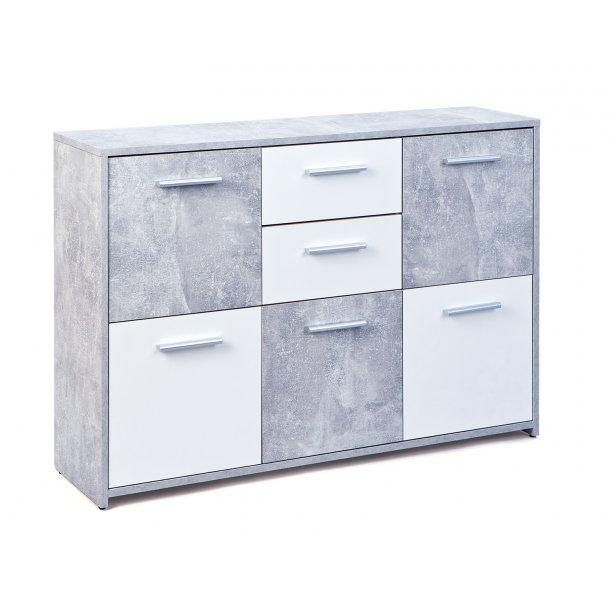 Flacs kommode 5 låger, 2 skuffer beton dekor, hvid.
