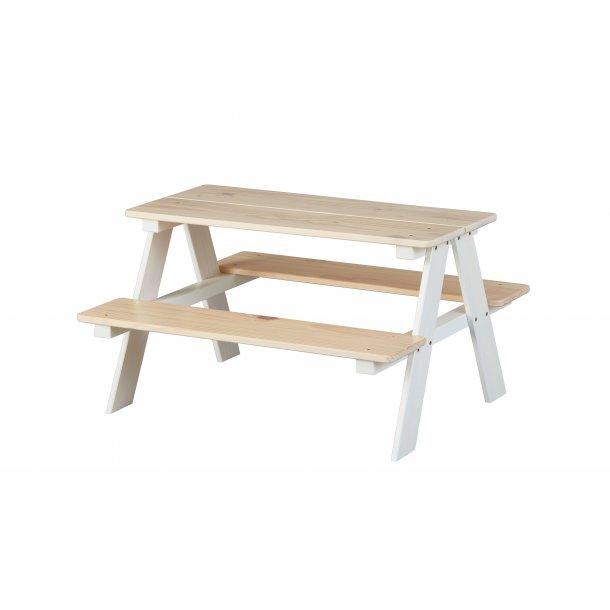 Hensa børne skrivebord bord bænke sæt til børneværelse hvid, Milkyskin.