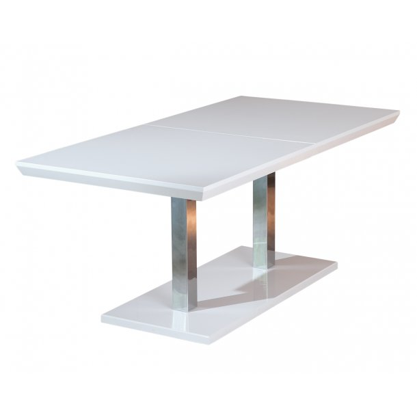 Egar spisebord 90x160/200 cm, med butterfly udtræk hvid højglans.