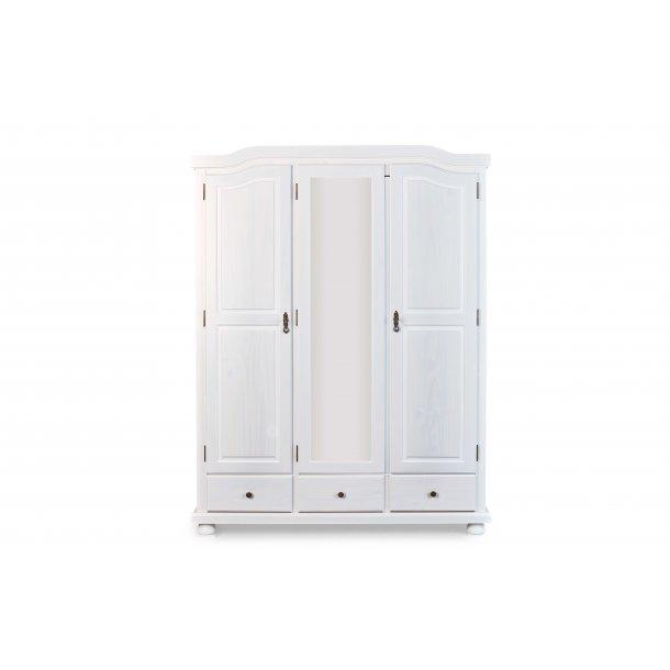 Kapco klædeskab 2 låger, 1 spejllåge, 3 skuffer hvid.