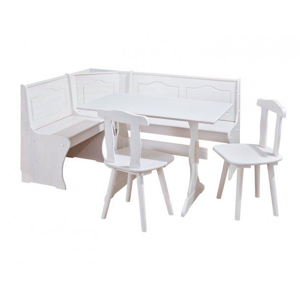 Dosni hjørnebænk-gruppe med opbevaring under sæde hvid.