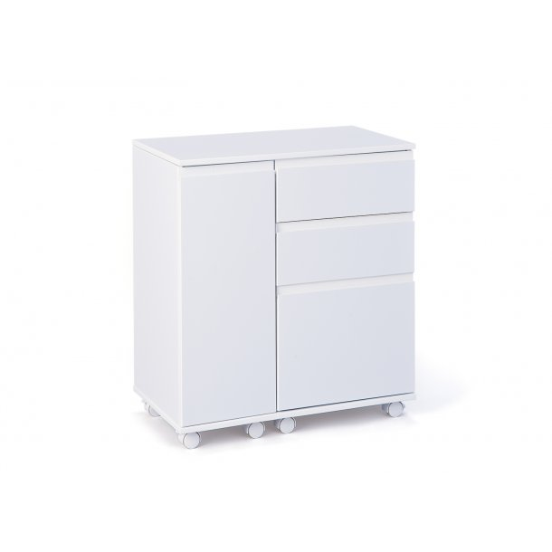 Lapo skrivebord udtrækkelig bordplade, 3 skuffer, 1 låge hvid.
