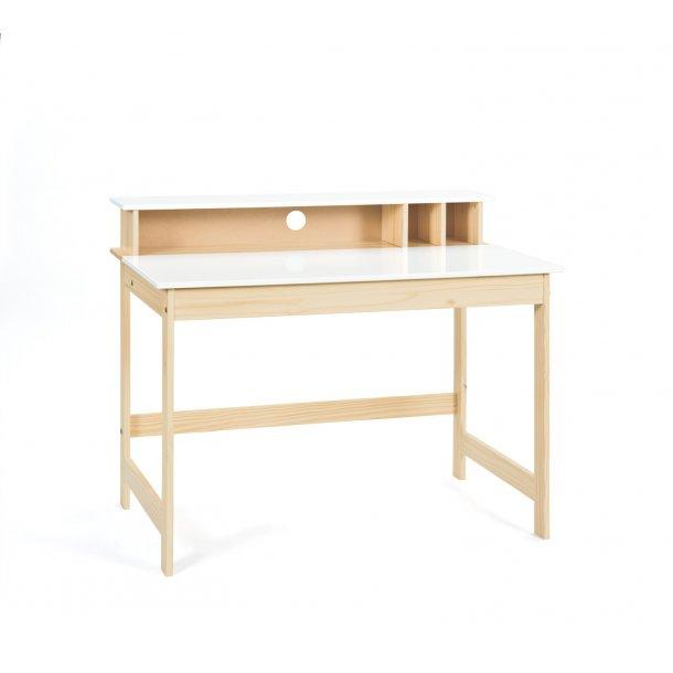 Giese skrivebord 1 opklappelig bordplade, 3 åbne rum Milkyskin, hvid.