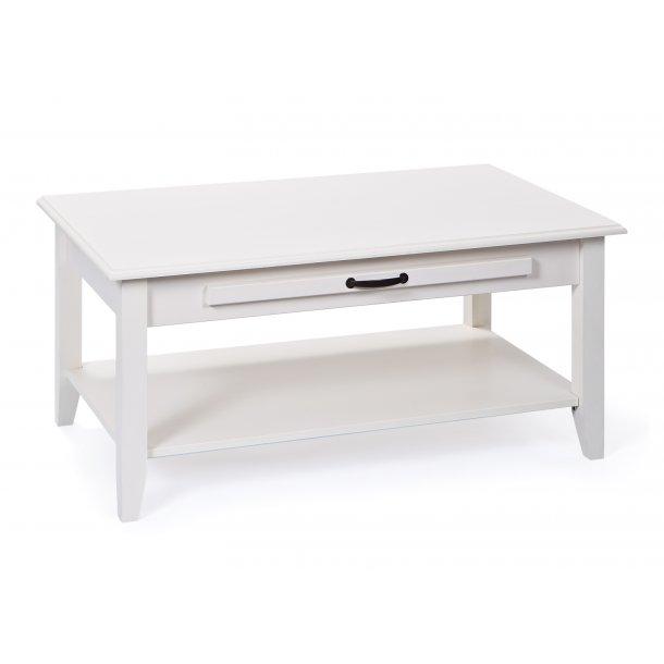 Cassy sofabord 1 hylde og 1 udtræksplade antik hvid.