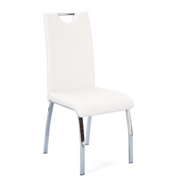 Geoba spisestuestol hvid, sølv farvet.