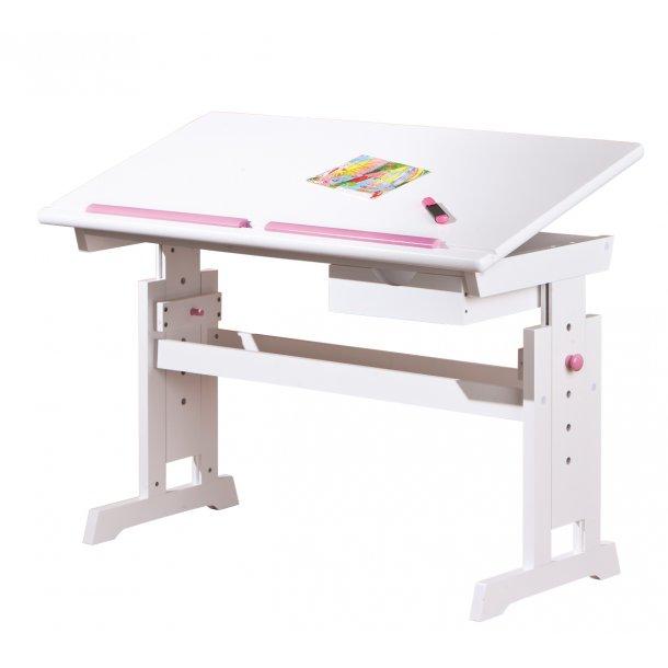 Batur skrivebord 1 skuffe hvid, blå/ pink.
