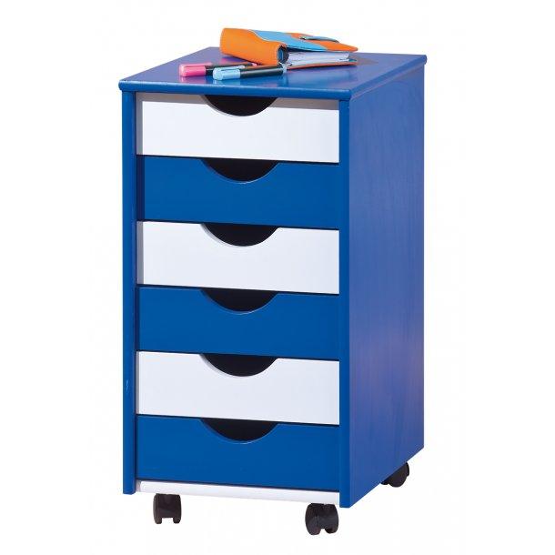 Bepe kommode kontorarkiv på hjul, 6 skuffer blå, hvid.