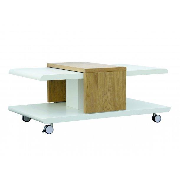 Jolac sofabord med 4 hjul, top plade kan forskydes hvid, vild eg dekor.