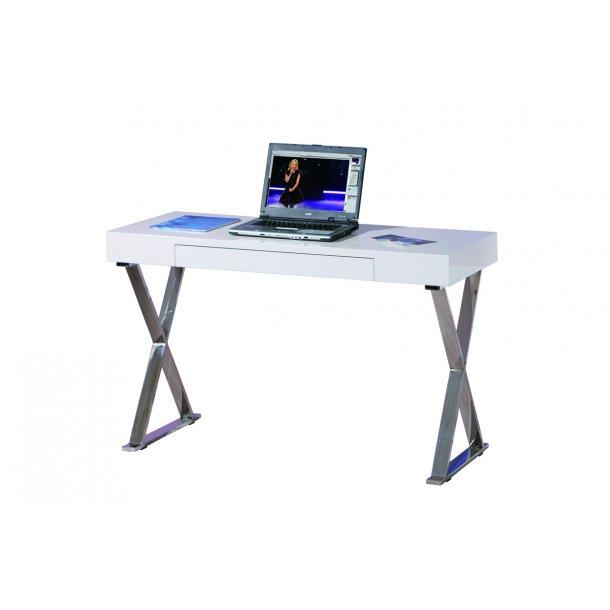 Gramp skrivebord 1 skuffe hvid højglans.