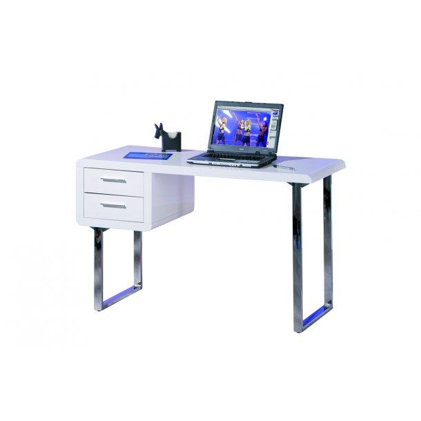 Clim skrivebord 2 skuffer hvid højglans.