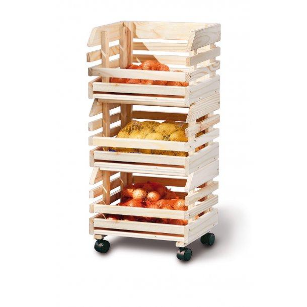 Frula reol frugt og grønt opbevaring, 3 kasser natur.