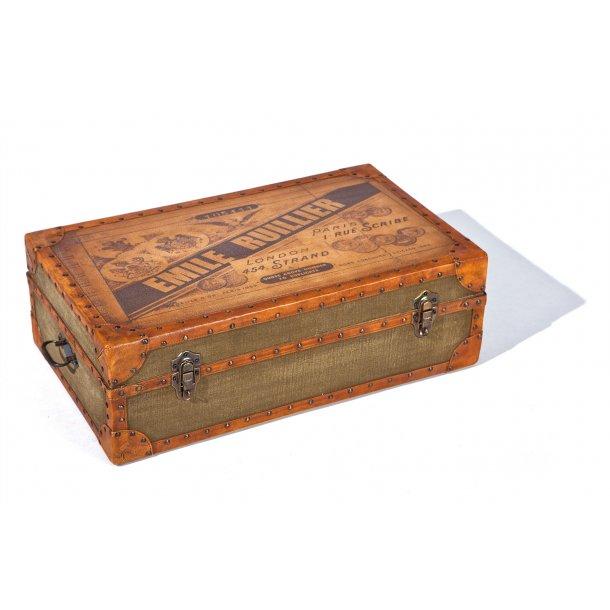 Emip opbevaringskasser kuffert brun, beige, grøn.