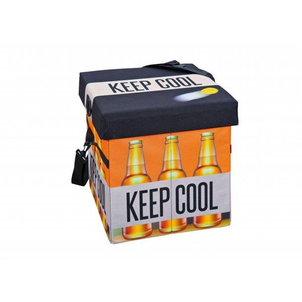 Fabo opbevaringskasser køletaske, skammel, med låg sort, hvid, orange.