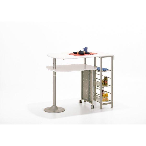 Fitor barbord til køkken, 3 hylder hvid, sølv farvet.