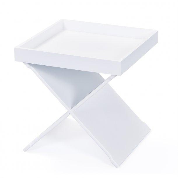 Egna sofabord hjørnebord med aftagelig bakke hvid.