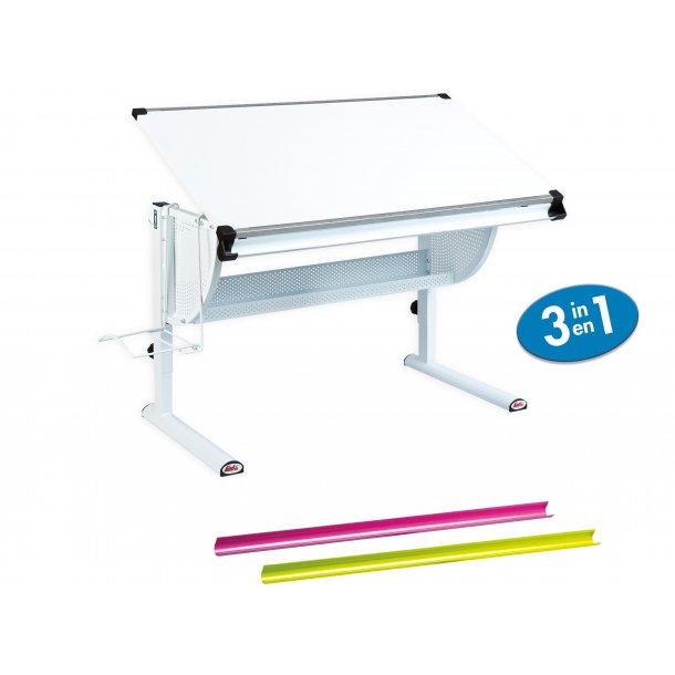 Matkan skrivebord  hvid, hvid/pink/grøn.