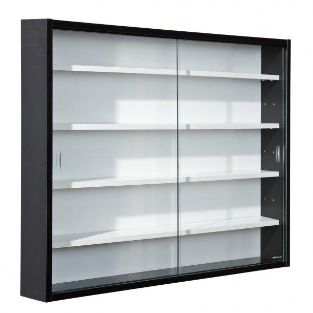 Collir vitrineskab til vægophæng, 2 glas låger hvid, sort.