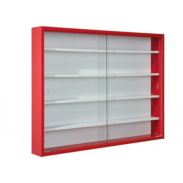 Collir vitrineskab til vægophæng, 2 glas låger hvid, rød.