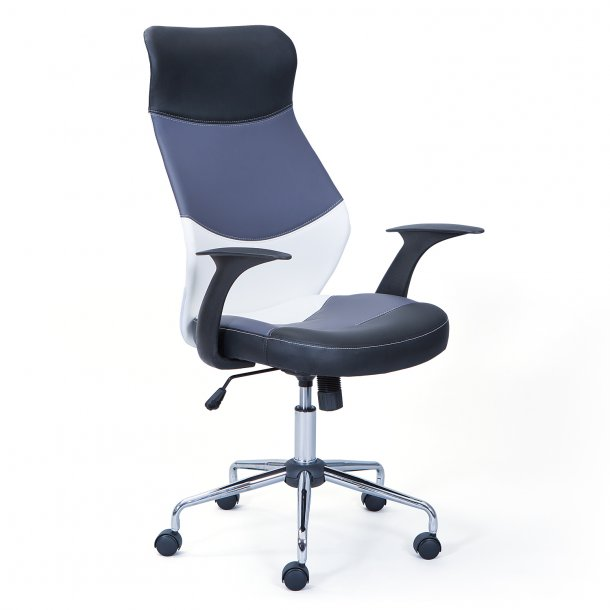 Livno kontorstol sort, grå, hvid, chrom.