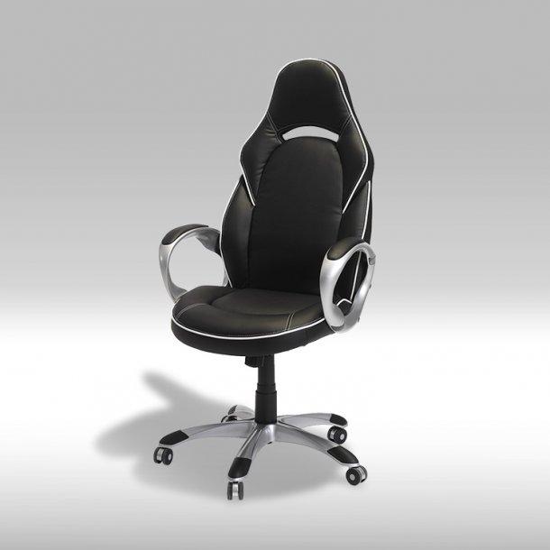 Still kontorstol i sort PU kunstlæder med hvide syninger.