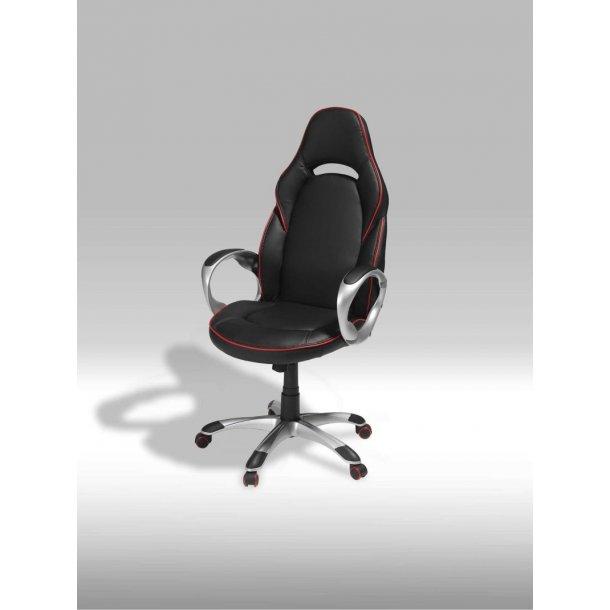 Still kontorstol i sort PU kunstlæder med røde syninger.