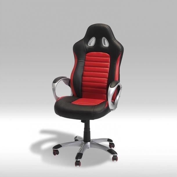 Still kontorstol i sort og rød PU kunstlæder.