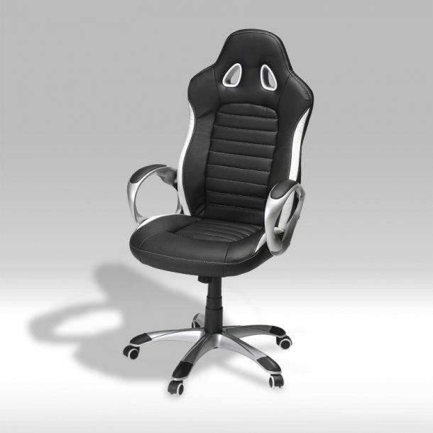 Still kontorstol i sort og hvid PU kunstlæder.