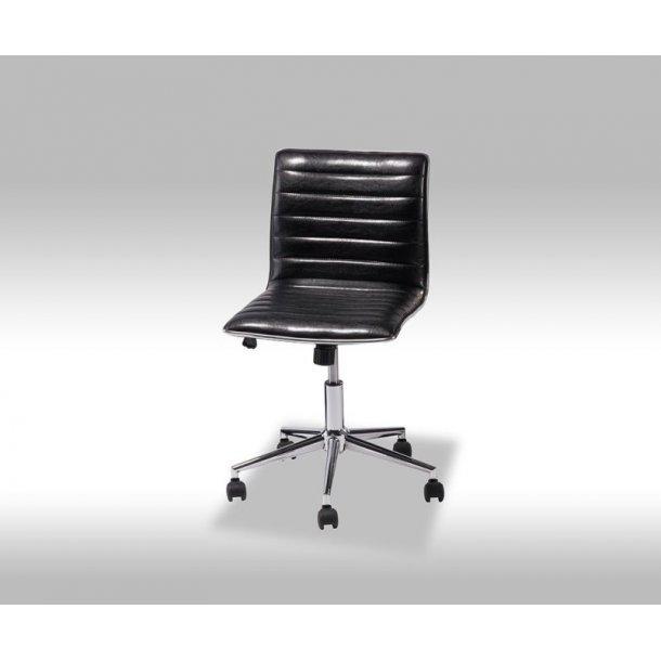 Jezz kontorstol i sort PU kunstlæder.
