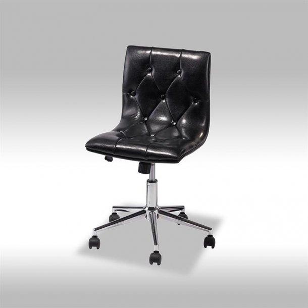 Kelim kontorstol i sort PU kunstlæder.
