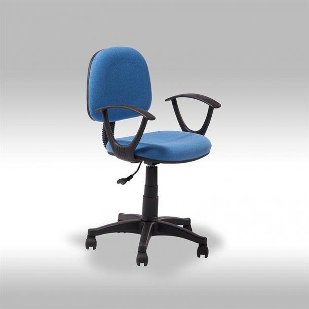 String kontorstol i blå stof.