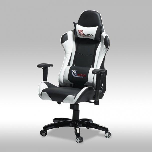 Gamer stol Wild som kontorstol i sort og hvid PU kunstlæder.