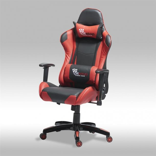 Gamer stol Wild som kontorstol i rød og sort PU kunstlæder.